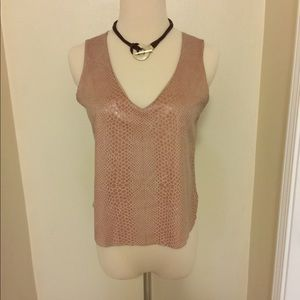 Tops - Faux Snakeskin and Suede Top